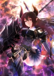1girl armor bangs boots breasts brown_hair closed_mouth dual_wielding forte_(shingeki_no_bahamut) full_body gauntlets holding holding_weapon horns huge_weapon large_breasts long_hair looking_at_viewer pauldrons pointy_ears red_eyes s_1san86 serious shadowverse sidelocks skirt smile solo solo_focus thighhighs weapon