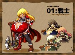alternate_colors armor axe border breasts cape gigantic_breasts kyosuke_fujiwara_(xacro) tagme
