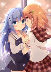 2girls blue_eyes blue_hair blush dan_ball embarrassed gochuumon_wa_usagi_desu_ka? hair_ornament hairclip hand_holding hoto_cocoa kafuu_chino long_hair looking_at_another multiple_girls orange_hair plaid plaid_skirt purple_eyes red_skirt short_hair skirt x_hair_ornament yuri