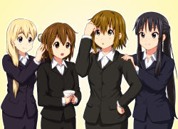 4girls akiyama_mio alternate_hairstyle black_eyes black_hair blazer blonde_hair blue_eyes blush brown_eyes brown_hair closed_mouth collared_shirt diesel-turbo dress_shirt formal hair_between_eyes hair_brushing hair_down hair_ornament hair_over_shoulder hairclip hands_on_another's_shoulders hirasawa_yui holding jacket k-on! kotobuki_tsumugi long_hair looking_at_another multiple_girls open_mouth outline ponytail revision shirt short_hair simple_background smile suit tainaka_ritsu thick_eyebrows white_shirt wing_collar yellow_background