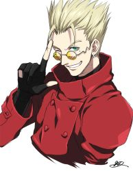 1boy blonde_hair fingerless_gloves gloves green_eyes grin jacket mole one_eye_closed oui_lion red_jacket simple_background smile solo sunglasses teeth trigun vash_the_stampede