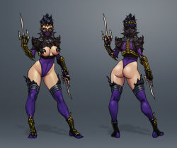 1girl ass breasts dual_wielding josef_axner mileena mortal_kombat ninja short_hair
