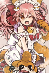1girl alternate_costume animal_ears apron bell bell_collar breasts caster_(fate/extra) cleavage collar enmaided fate/grand_order fate_(series) fox_ears fox_tail hair_ribbon large_breasts long_hair looking_at_viewer maid maid_apron maid_headdress one_eye_closed open_mouth paws pink_hair ribbon solo tail tamamo_cat_(fate/grand_order) yellow_eyes