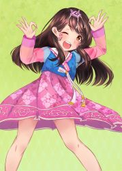 1girl alternate_costume argyle argyle_background arms_up brown_eyes brown_hair cowboy_shot d.va_(overwatch) double_ok_sign facepaint facial_mark fang gradient gradient_background green_background hair_ornament hanbok highres korean_clothes legs long_hair looking_at_viewer ok_sign one_eye_closed open_mouth overwatch ribbon rush_san solo teeth traditional_clothes unmoving_pattern whisker_markings younger