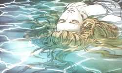 1girl blonde_hair eyebrows eyelashes eyes_closed jojo_no_kimyou_na_bouken partially_submerged perla_pucci solo tagme upper_body upside-down ygg