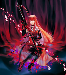 1girl absurdres artist_name bangs belt belt_buckle black_boots black_gloves black_legwear boots breasts buckle crimson_avenger_(elsword) elesis_(elsword) elsword full_body gloves highres holding holding_sword holding_weapon long_hair looking_at_viewer red red_eyes red_hair ryu_(2961995) sitting solo sword thigh_boots thighhighs unbuckled_belt very_long_hair weapon