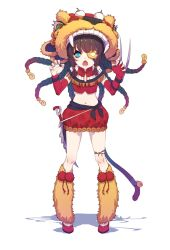 1girl alternate_costume alternate_hair_color black_hair blue_eyes braid chinese_clothes claw_(weapon) claw_pose dagger daye_bie_qia_lian elbow_gloves eyepatch fang fingerless_gloves genderswap genderswap_(mtf) gloves highres league_of_legends lion lion_tail looking_at_viewer midriff mismatched_gloves multiple_braids navel open_mouth personification rengar solo tail weapon