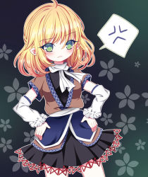 1girl anger_vein arm_warmers blush frown hands_on_hips mizuhashi_parsee pointy_ears pout rimei robe scarf skirt solo spoken_anger_vein touhou undershirt