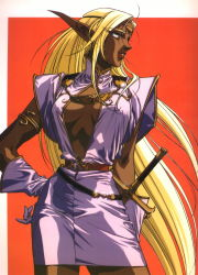 1girl 90s ahoge armlet belt beltskirt blonde_hair breasts breasts_apart center_opening circlet cleavage cowboy_shot dark_elf dark_skin dress elbow_gloves elf fantasy gloves grin hand_on_hip highres jewelry large_breasts lipstick long_hair long_pointy_ears looking_afar looking_away makeup no_bra official_art open_clothes open_dress pirotess pointy_ears profile record_of_lodoss_war red_background red_lipstick short_dress sidelocks simple_background slender_waist smile solo standing sword turtleneck very_long_hair weapon yellow_eyes yuuki_nobuteru