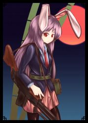 1girl animal_ears bamboo black_hair blazer bunny_ears full_moon hanafuda highres kys_(k-k2) lavender_hair long_hair looking_at_viewer moon pantyhose red_eyes red_moon reisen_udongein_inaba skirt solo tagme touhou weapon