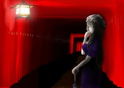 1girl akiyama_cz4a ass blonde_hair breasts cleavage commentary_request dark dress from_behind lantern light light_smile long_hair looking_at_viewer looking_back mob_cap pale_skin path purple_dress purple_eyes road short_sleeves solo standing torii touhou umbrella very_long_hair yakumo_yukari