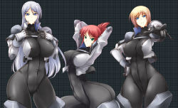 3girls bodysuit breasts clothed_navel erect_nipples haganef highres large_breasts long_hair multiple_girls short_hair skin_tight source_request