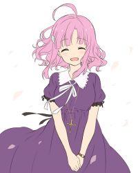 1girl ^_^ ahoge cross dress eyes_closed gakkou_gurashi! jewelry necklace open_mouth petals pink_hair sakura_megumi smile watch wristwatch yamazaki_mitsuko
