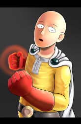 1boy aura bald belt cape clenched_hands gloves highres looking_at_viewer one-punch_man saitama_(one-punch_man) solo sukemyon superhero