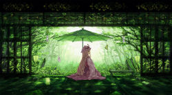 1girl blonde_hair butterfly dead_line forest green hat hat_ribbon highres lantern long_hair long_sleeves mob_cap nature open_door parasol profile revision ribbon sitting solo tabard teruterubouzu touhou umbrella very_long_hair wind_chime yakumo_yukari