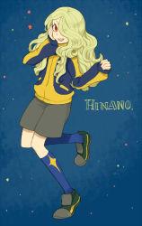 1boy androgynous blonde_hair hair_over_one_eye hinano_kinsuke inazuma_eleven inazuma_eleven_(series) inazuma_eleven_go l_hakase long_hair open_mouth red_eyes