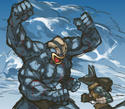 battle blood blue_skin extra_arms faceoff fighting_stance height_difference highres injury lucario machamp muscle nameo_(judgemasterkou) pokemon red_eyes shirtless