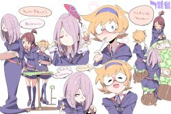 ! 3girls :d :o ? ^_^ ^o^ ass blue_eyes blush boots bread brown_hair chair chris_(mario) collared_shirt dress eating eyes_closed food fork freckles glasses hair_over_one_eye hairband half-closed_eyes kagari_atsuko knee_boots knife little_witch_academia long_dress long_hair long_sleeves lotte_yanson multiple_girls mushroom open_mouth pink_hair red_eyes shirt short_dress short_hair sidelocks simple_background sitting smile speech_bubble spoon standing sucy_manbavaran table text translation_request tray white_background witch