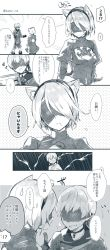 1boy 1girl animal_ears blindfold blush breasts cat_ears covered_eyes dress feather-trimmed_sleeves gloves headband highres kotori_bb mole mole_under_mouth monochrome nier_(series) nier_automata open_mouth short_hair smile sweatdrop translation_request yorha_no._2_type_b yorha_no._9_type_s