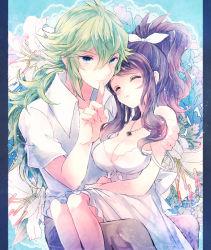 breasts cleavage couple jewelry n_(pokemon) necklace pokemon pokemon_(game) pokemon_bw ponytail smile torute touko_(pokemon)