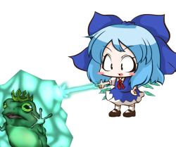 1girl blue_hair blush_stickers bow cirno crown dress frog frozen hair_bow hand_on_hip ice ice_wings open_mouth ribbon short_hair simple_background smile solo touhou white_background wings ziogon