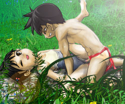 1boy 1girl artist_request bangs barefoot black_hair blush brown_eyes censored clenched_teeth clothed_sex feet flat_chest flower grass hairless_pussy hetero lens_flare little_penis loincloth loli lying missionary on_back one-piece_swimsuit one-piece_tan one_eye_closed outdoors outside penis pink_nipples pussy sex short_hair shota sketch small_areolae small_breasts small_nipples straight_shota swimsuit swimsuit_aside tagme tanline vaginal wince