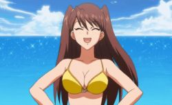 1girl 90s agent_aika aika_r-16 animated animated_gif bangs bare_shoulders beach bikini bounce bouncing_breasts breasts brown_hair cleavage collarbone eyes_closed female large_breasts long_hair shingai_eri sky smile solo sparkle swept_bangs swimsuit upper_body water yellow_bikini