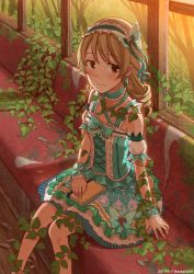 1girl aqua_bow aqua_dress bare_legs bare_tree blush book bow brown_eyes bus bus_interior butterfly_hair_ornament choker corset damaged dated detached_sleeves diary dot_nose dress drill_hair earrings eyebrows_visible_through_hair forest frilled_choker frills ground_vehicle hair_ornament hairband half-closed_eyes hand_on_lap highres idolmaster idolmaster_cinderella_girls idolmaster_cinderella_girls_starlight_stage jewelry layered_skirt light_brown_hair lolita_fashion lolita_hairband looking_at_viewer medium_hair morikubo_nono motor_vehicle nature on_lap overgrown patterned pearl plant ruins rust shoes sitting solo spaghetti_strap tareme tree twitter_username vines wavy_mouth window wooden_floor wrist_cuffs