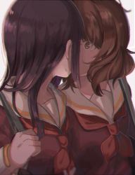 2girls black_hair brown_eyes brown_serafuku hibike!_euphonium highres ibuki_(ibuki0118) implied_kiss kousaka_reina long_hair multiple_girls neckerchief oumae_kumiko red_neckerchief school_uniform serafuku short_hair strap yuri