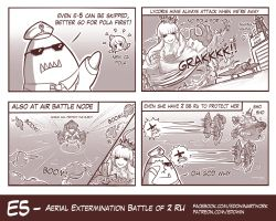 4koma admiral_(kantai_collection) akizuki_(kantai_collection) comic edwin_(cyberdark_impacts) highres kantai_collection lycoris_hime monochrome ru-class_battleship tidehunter