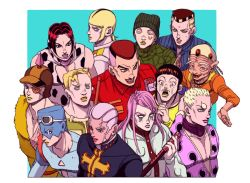 black_hair blank_eyes blonde_hair braid brown_hair cow_print crying d&g donatello_versace enrico_pucci evil_grin evil_smile eyepatch facial_mark frown goggles goggles_on_head green_lipstick grin guccio hage_tashuumi hands_clasped hat hitodama jojo_no_kimyou_na_bouken jongalli_a kenzo lang_wrangler lipstick long_hair makeup mask multicolored_hair old_man open_mouth pink_hair pink_lipstick red_hair red_lipstick rikiel romeo_jisso smile sports_max streaming_tears sweat tears turtleneck two-tone_hair ungaro uniform viviano_westwood white_hair xander_mcqueen yellow_lipstick
