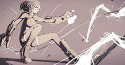 1girl animated animated_gif boots breasts cable electricity energy gauntlets glasses glowing grey_background lowres mark_simonov md5_mismatch monochrome open_mouth original outstretched_arm parted_lips resized shadow short_hair shorts simomark simple_background skin_tight solo thighhighs weapon zettai_ryouiki