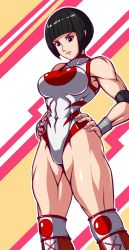 1girl bicpes black_hair boots bowl_cut deadmoon hands_on_hips kneehighs leotard muscle nadeshiko_yamato nail_polish sleeveess solo street_fighter street_fighter_v thick_thighs toned wrestling_outfit wristband