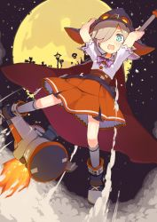 1girl absurdres blue_eyes brown_hair cape dutch_angle exrail flying from_below full_moon goggles_on_hat hair_over_one_eye halloween hat highres holding looking_at_viewer moon open_mouth original short_hair solo witch witch_hat