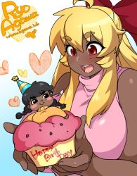 2girls agawa_ryou ahoge artist_self-insert bare_shoulders blonde_hair blush_stickers borrowed_character bow breasts cupcake dark_skin eyebrows_visible_through_hair food ganguro hair_bow hair_ribbon happy_birthday huge_breasts in_food kirbila_(yellow_kirby) krubby_(yellow_kirby) long_hair minigirl mole mole_under_eye multiple_girls open_mouth original red_bow red_eyes sidelocks sleeveless sleeveless_turtleneck smile thick_eyebrows turtleneck watermark web_address