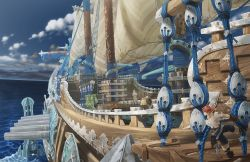 2boys absurdres boat cloud highres multiple_boys ocean official_art pirate ship short_hair the_last_story watercraft