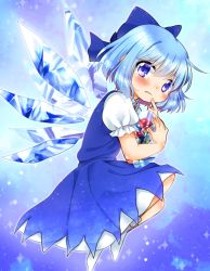 1girl barefoot blue_background blue_dress blue_eyes blue_hair blush cirno dress flower frozen gradient gradient_background hair_ornament hair_ribbon ice ice_wings looking_at_viewer namino. puffy_sleeves ribbon short_hair short_sleeves socks solo tears touhou vest white_legwear wings