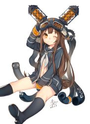 1girl absurdres akayan bangs between_legs black_gloves black_legwear blunt_bangs blush brown_eyes brown_hair cable commentary_request gloves goggles goggles_on_head hand_between_legs hat helmet highres iona_(last_period) jacket last_period long_hair long_sleeves looking_at_viewer navel neckerchief one_eye_closed sailor_collar simple_background sitting skirt smile solo unzipped white_background zipper