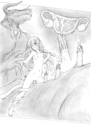 1girl artist_request breasts cum cum_in_pussy girl_on_top horns loli minotaur monochrome monster nude penis pussy restrained sex size_difference small_breasts tentacle uncensored uterus vaginal x-ray