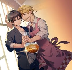 2boys against_wall antenna_hair apron backlighting barakamon black_hair blonde_hair brown_eyes chopsticks dutch_angle handa_seishuu japanese_clothes jinbei_(clothes) jumping_dogeza kido_hiroshi male_focus mouth_hold multiple_boys smile sparkle