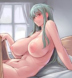 1girl areolae bed breasts curtains huge_breasts large_areolae long_hair looking_at_viewer lying nipples nude on_back red_eyes revision selvaria_bles senjou_no_valkyria silver_hair smile solo tsuda_nanafushi under_covers window