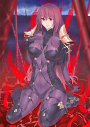 absurdres arm_support cloud colalrbone ed_ees fate/grand_order fate_(series) ground hand_on_own_chest high_heels highres kumasang lips long_hair polearm purple_hair qariza red_eyes scathach_(fate/grand_order) see-through sitting skin_tight sky spaulders spear weapon