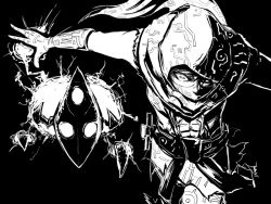 1boy abs black_background covered_mouth gloves greyscale hood league_of_legends malzahar monochrome n-desion outstretched_arms voidling