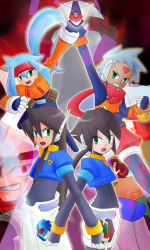 3boys 3girls aile ashe bodysuit brown_hair capcom green_eyes grey_(rockman) grey_hair long_hair multiple_boys multiple_girls pandora_(rockman) prometheus_(rockman) rockman rockman_zx vent