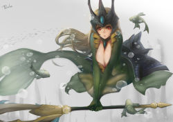 blonde_hair breasts cleavage crown fish fish_tail huge_breasts league_of_legends mermaid monster_girl nami_(league_of_legends) red_eyes sky_of_morika staff tagme underwater