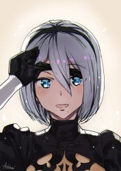 1girl :d ashiomi_masato black_dress blindfold blue_eyes blush dress hairband looking_at_viewer mole mole_under_mouth nier_(series) nier_automata open_mouth short_hair smile solo yorha_no._2_type_b