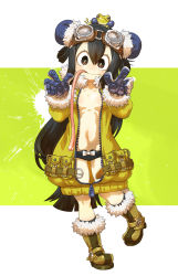 1girl :> alternate_costume alternate_hairstyle animal animal_on_head asui_tsuyu black_hair black_panties blush boku_no_hero_academia boots bow bow_panties breasts brown_boots brown_eyes bun_cover chaki_(teasets) collarbone double_bun eyelashes frog frog_girl full_body fur_trim goggles goggles_on_head hair_rings highres leg_up long_hair long_sleeves long_tongue looking_at_viewer navel panties simple_background solo tongue tongue_out underwear unzipped zipper