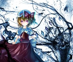 1girl ascot blonde_hair bow dress flandre_scarlet hat hat_bow laevatein looking_at_viewer mob_cap pink_eyes puffy_short_sleeves puffy_sleeves red_dress rinne_(kouheiramia) sash scythe shirt short_sleeves solo touhou