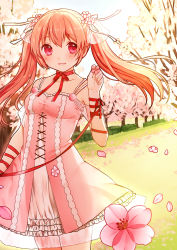 1girl arm_ribbon bangs blonde_hair blush breasts cherry_blossoms clarinet_(natsumi3230) cowboy_shot dress eyebrows_visible_through_hair flower grass highres holding holding_flower long_hair looking_at_viewer neck_ribbon original outdoors parted_lips petals pink_dress pink_eyes red_ribbon ribbon small_breasts smile solo spaghetti_strap standing twintails