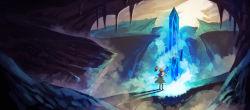1girl alice_margatroid blonde_hair blue_dress boots bridge capelet cave crystal dress from_behind glowing highres mountain pantyhose sash shadow shanghai_doll short_hair solo stalactite touhou zarisu